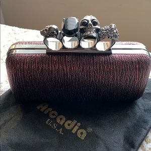 Red and black clutch purse